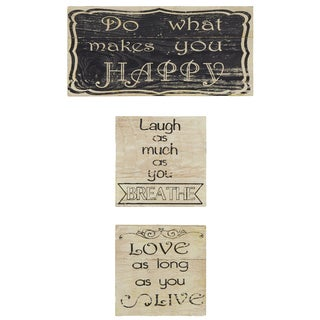 'Do What Makes You Happy' Silk Screen on Wood Wall Art (Set of 3)