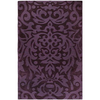 Hand-Loomed Hetfield Damask Wool Rug (5' x 8')