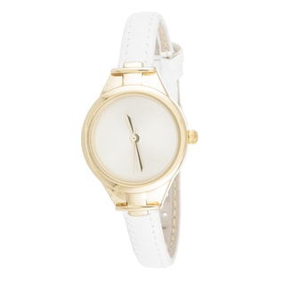 Via Nova Slim Women's Small Goldtone White Leather Strap Watch