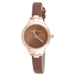 Via Nova Slim Women's Small Goldtone Brown Leather Strap Watch