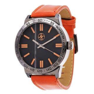 Fortune NYC Men's Black Case Orange Leather Strap Watch