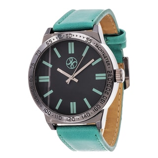 Fortune NYC Men's Black Case Turquoise Leather Strap Watch