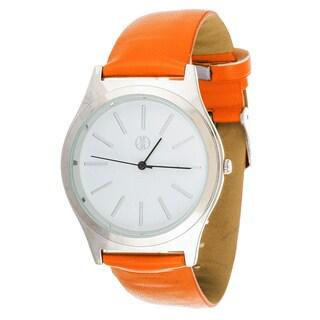 Fortune NYC Women's Silvertone Square Case Orange Leather Strap Watch
