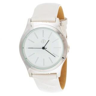 Fortune NYC Boyfriend Women's Silvertone Square Case White Leather Strap Watch