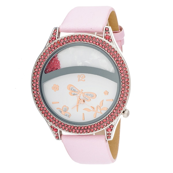 Fortune NYC Buterfly Floating Stone Women's Pink Leather Strap Watch