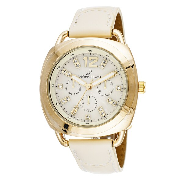 Via Nova Elegant Women's Goldtone Case Beige Leather Strap Square Watch
