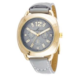 Via Nova Women's Goldtone Case Grey Leather Strap Watch