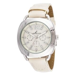 Via Nova Elegant Women's Silvertone Case Beige Leather Strap Watch