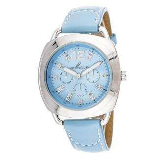 Via Nova Elegant Women's Silvertone Case Blue Leather Strap Watch