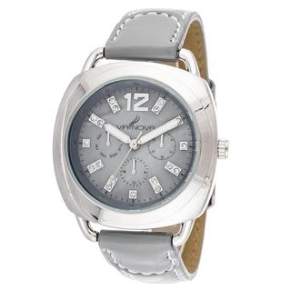 Via Nova Women's Silvertone Case Grey Leather Strap Watch