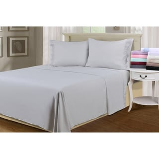 Wrinkle Resistant Embroidered Regal Lace Sheet Set with Pillowcase Separates