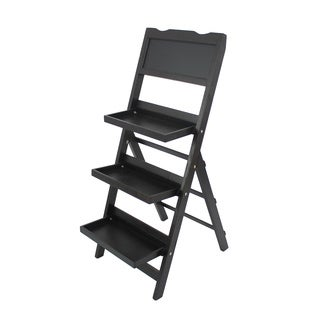 Black 3-tier Wood Shelf