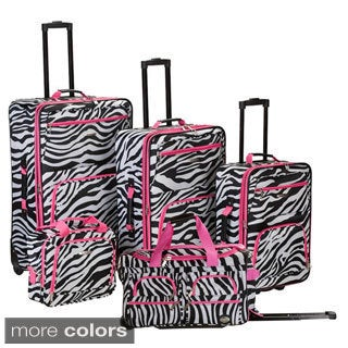 Rockland Zebra 5-piece Expandable Rolling Upright Luggage Set