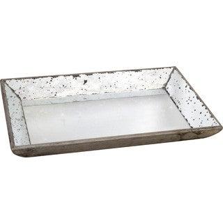 Silver Rectangular Glass Serving Tray