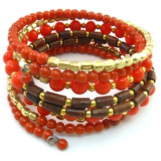 Coral Red and Goldtone Bead Coil Bracelet
