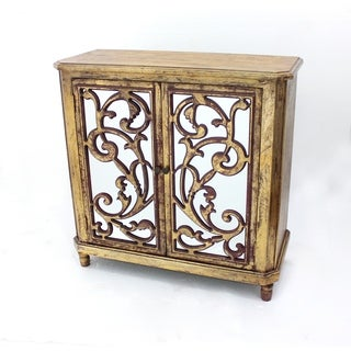 Goldtone Distressed Mirrored Wood Cabinet