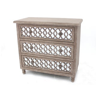 Light Brown Wood Mirrored Dresser
