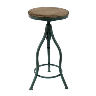 Adjustable Wood and Green Metal Stool