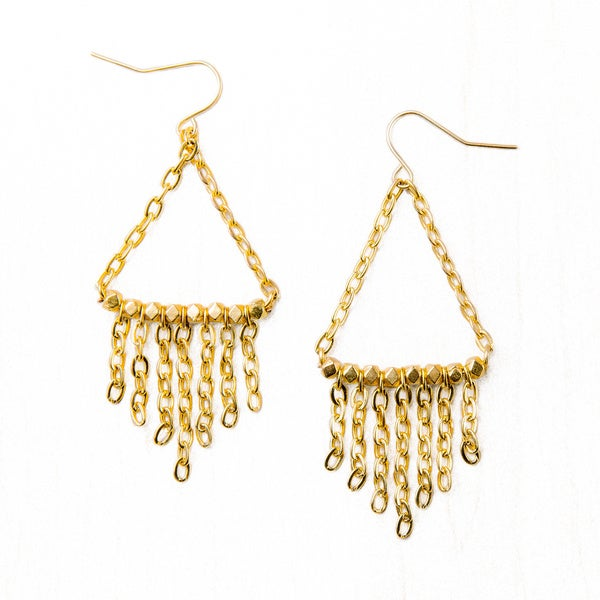 Metallic Gold Overlay Chain Fringe Earrings (China)