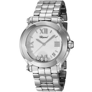 Chopard Women's 278477-3013 'Happy SportRound' White Diamond Dial Stainless Steel Quartz Watch