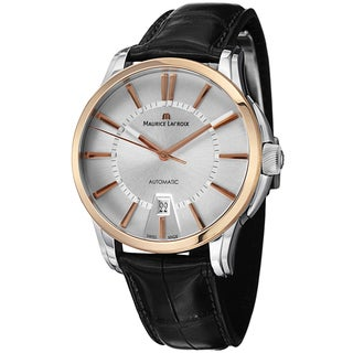 Maurice Lacroix Men's PT6148-PS101-130 'Pontos' Silver Dial Black Leather Strap Two Tone Watch