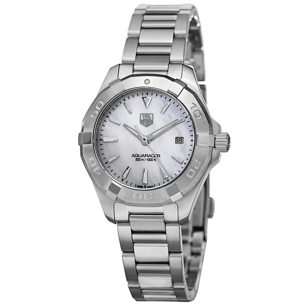 Tag heuer women 39 s way1312 ba0915 39 300 aquaracer 39 mother of pearl dial stainless steel quartz for Tag heuer discount