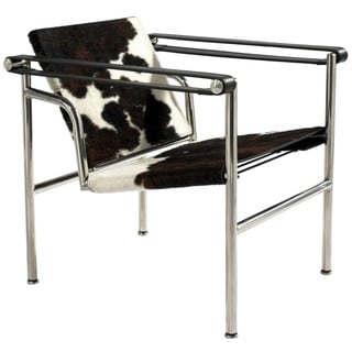 Le Corbusier Style LC1 Brown/ White Cowhide Slingchair