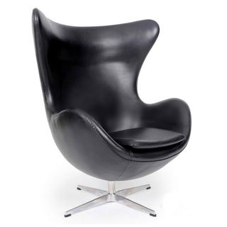 Genuine Leather Black Egg Chair
