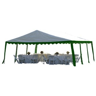 ShelterLogic 20' x 20' Green/ White 8-leg Galvanized Steel Frame Party Tent Canopy
