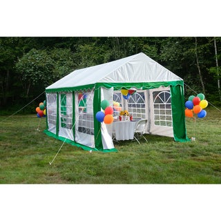 ShelterLogic 10' x 20' Green/ White 8-leg Galvanized Steel Frame Party Tent Canopy and Enclosure Kit with Windows