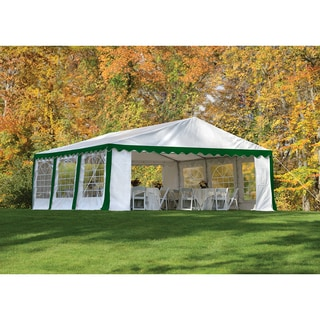 ShelterLogic 20' x 20' Green/ White Galvanized 8-leg Steel Frame Party Tent Canopy and Enclosure Kit with Windows