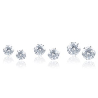 Journee Collection Stainless Steel Cubic Zirconia Set of 3 Round Stud Earrings