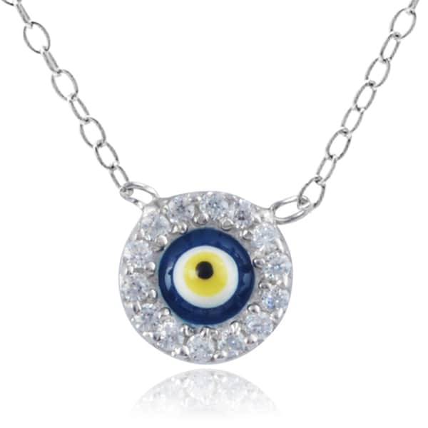Journee Collection Sterling Silver Evil Eye Necklace