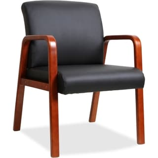 Lorell Wood Frame Black Leather Guest Chair