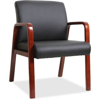 Lorell Black Leather Wood Frame Guest Chair