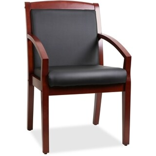 Lorell Black Leather Sloping Arms Wood Guest Chair