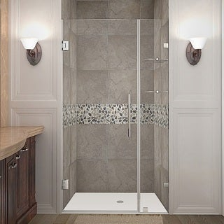 Aston Nautis GS 43-in x 72-in Completely Frameless Hinged Alcove Shower Door in Chrome w. Glass Shelves