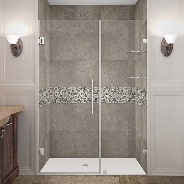 Aston Nautis GS 46-inch x 72-inch Completely Frameless Hinged Shower Door with Glass Shelves