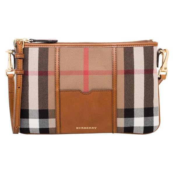 Burberry Brown Check Canvas Crossbody Bag