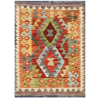 Herat Oriental Afghan Hand-woven Tribal Kilim Red/ Rust Wool Rug (2'1 x 2'9)