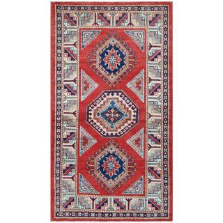 Herat Oriental Afghan Hand-knotted Tribal Super Kazak Rust/ Ivory Wool Rug (2'10 x 5')