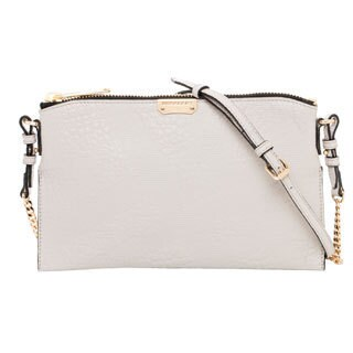 Burberry White Embossed Check Leather Clutch