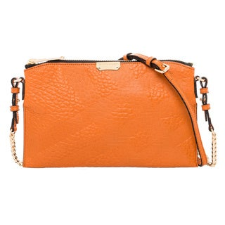 Burberry Orange Embossed Check Leather Clutch