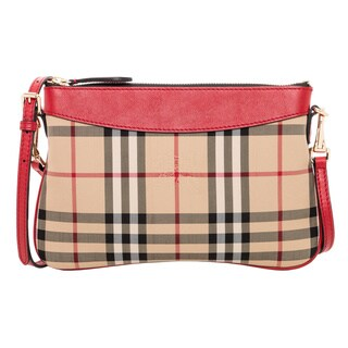 Burberry Horseferry Check Red Trim Clutch Bag