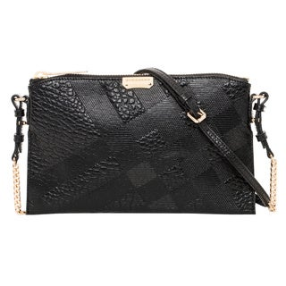 Burberry Black Embossed Check Leather Clutch