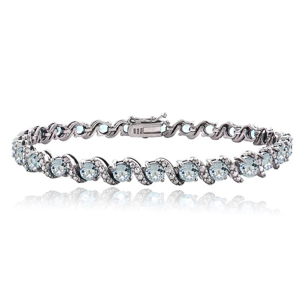 Glitzy Rocks Sterling Silver Aquamarine Diamond Accent S Bracelet 14966103