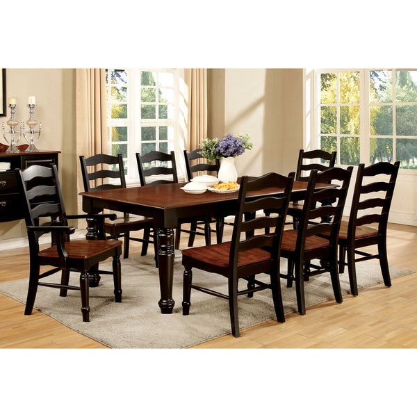 furniture of america loretta 9 piece country style 2 tone