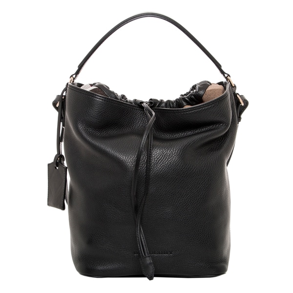 Burberry Black Leather and Canvas Check Hobo Bag