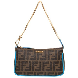 Fendi Tobacco and Blue Coated Canvas Pouchette