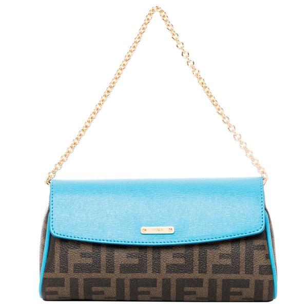 Fendi Tobacco and Blue Zucca Mini Bag